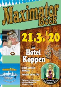 Ankündigung Maximator Bockbieranstich mit der Fishermen's Dixieband im Hotel Koppen am 21.03.2020