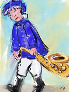 Trauriger Musikant der Fischertrachtenkapelle aufgrund der Einschränkungen der Corona-Pandemie - Zeichnung: Gitta Goletz