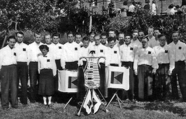 Kolpingkapelle Gemünden auf dem Feuerwehrfest in Rieneck 1954