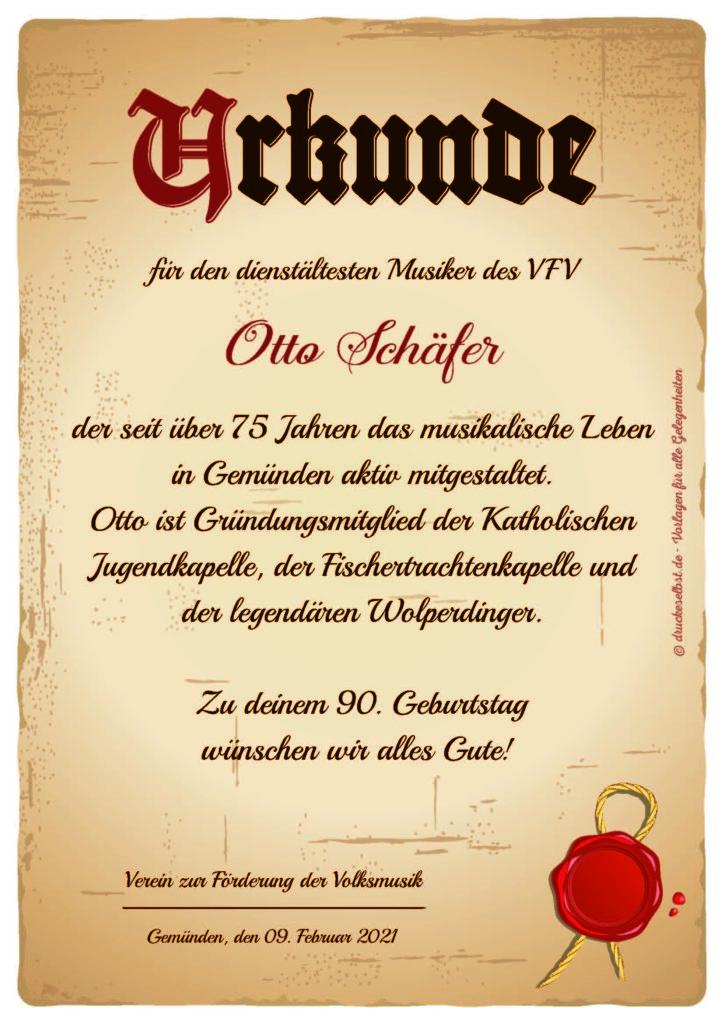 Urkunde zum 90. Geburtstag von Otto Schäfer. Quelle: druckeselbst.de